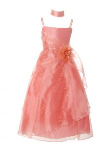 Huncho Girls Multi Color Organza Embroidery Flower Special Occasion Dress 4-16