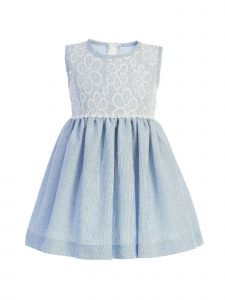 Lito Baby Girls Light Blue Lace Bodice Sleeveless Easter Dress 3-24 Months