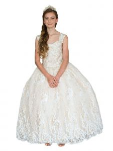 Big Girls Ivory Gold Glitter Lace Sleeveless Pageant Ball Gown 7-16