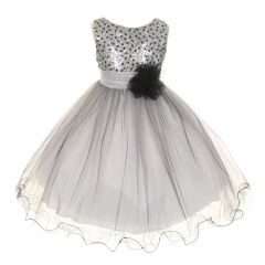 Kids Dream Big Girls Silver Multi Sequin Tulle Special Occasion Dress 8-14
