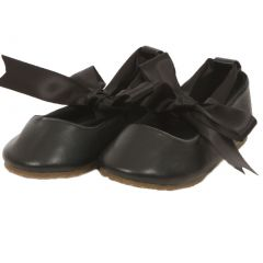 Kids Dream Black Ballerina Ribbon Tie Rubber Shoe Baby Toddler Girl 3-10