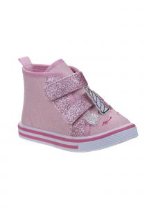 Laura Ashley Girls Pink Glitter Unicorn High Top Sneakers 5-10 Toddler
