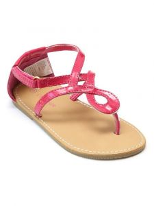 L'Amour Little Girls Fuchsia Hook-And-Loop Swirl Loop Thong Sandals 7-10 Toddler