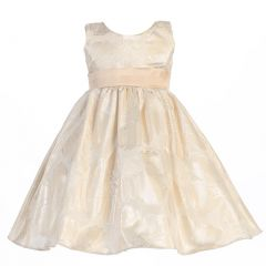 Lito Little Girls Gold Floral Metallic Jacquard Sash Christmas Dress 2T-6