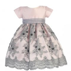 Lito Big Girls Pink Silver Shantung Sequins Tulle Christmas Dress 7-12
