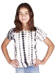Lori Jane Big Girls Black Tie Dye Elastic Top 6-16
