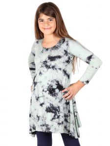 Lori Jane Big Girls Green Black Tie Dye Trendy Tunic Dress 6-16