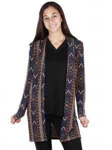 Lori Jane Big Girls Multi Color Navy Long Sleeve Open Front Jacket  12-18