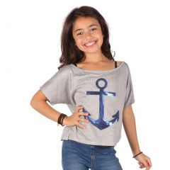 Lori&Jane Girls Gray Royal Blue Glitter Anchor Detail Dolman Sleeve Top 6-14