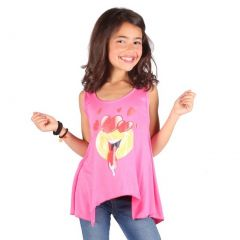 Lori&Jane Girls Fuchsia Yellow Stripe Emoticon Print Trendy Tank Top 6-14
