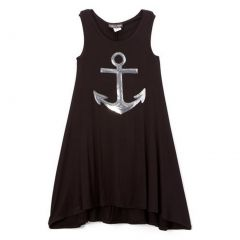 Lori&Jane Girls Black Silver Glitter Anchor Detail Sleeveless Top 6-14