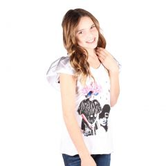 Lori&Jane Big Girls White Graphic Print Short Sleeve T-Shirt 10-16