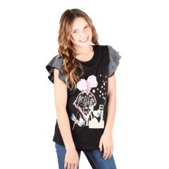 Lori&Jane Big Girls Black Graphic Print Short Sleeve T-Shirt 10-16