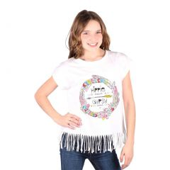 Lori&Jane Big Girls White Graphic Print Hippie Fringe Short Sleeve T-Shirt 10-16