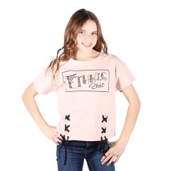Lori&Jane Big Girls Light Pink Graphic Print Ethnic Short Sleeve Top 10-16