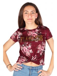 Lori & Jane Big Girls Burgundy Front Tie Short Sleeve Floral T-Shirt 10-16