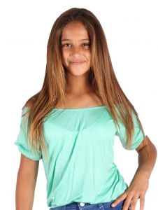 Lori & Jane Big Girls Mint Off Shoulder Short Sleeve Summer Top 6-14