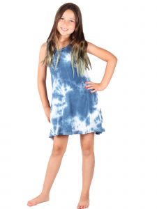 Lori & Jane Big Girls White Blue Sleeveless Trendy Tunic Dress 4-14