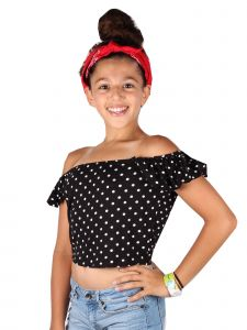 Lori&Jane Big Girls Black White Dots Off Shoulder Short Sleeve T-Shirt 10-16