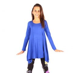 Lori&Jane Girls Royal Blue Solid Long Sleeved Uneven Length Trendy Top 6-14