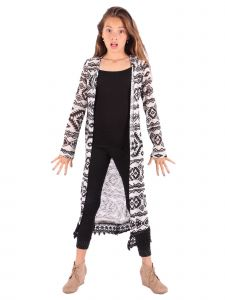 Lori&Jane Big Girls Black White Lace Trim Cardigan 6-14
