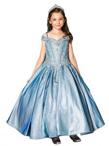 Girls Multi Color Glitter Rhinestone Cold Shoulder Pageant Ball Gown 3-16