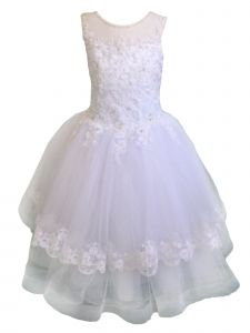 Christie Helene Little Girls White Split Back Bow Detail Flower Girl Dress 6
