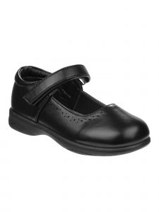 Petalia Girls Black Pinhole Detail Mary Jane School Shoe 4 Baby-4 Kids
