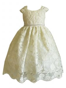 Princess Kloset Little Girls Ivory Sofia Scallope Lace Flower Girl Dress 2T-6