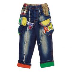 Rock'nStyle Boys Blue Denim Letter Pockets American Flag Patches Pants 2T-8