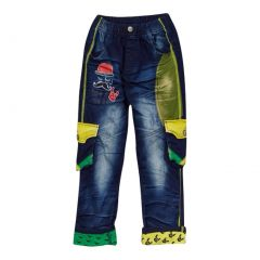 Rock'nStyle Boys Dark Blue Green Yellow Pockets Denim Pants 2-8T