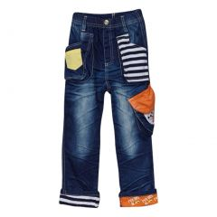 Rock'nStyle Baby Boys Dark Blue Stripe Pockets Patch Denim Pants 18-24M