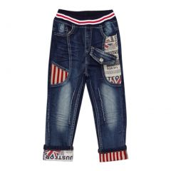 Rock'nStyle Baby Boys Dark Blue British Flag Stripe Denim Pants 18-24M