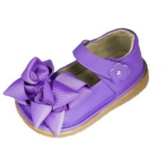 Mooshu Trainers Girls Purple Bow Squeaky Mary Jane Shoes 3 Baby-9 Toddler
