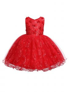 Rain Kids Little Girls Red 3D Floral Accented Lace Flower Girl Dress 2-4T