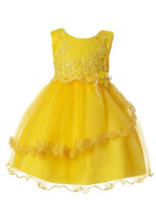 Rain Kids Baby Girls Yellow Floral Sequin Lace Tulle Special Occasion Dress 12M