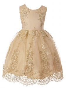 Rain Kids Little Girls Champagne Gold Floral Lace Applique Flower Girl Dress 3-6