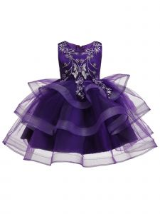 Rain Kids Girls Purple Floral Applique Tulle Skirt Christmas Dress 12M-8