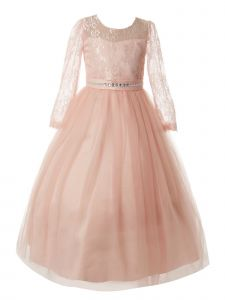 Rain Kids Big Girls Blush Lace Floor Tulle Special Occasion Dress 8-14