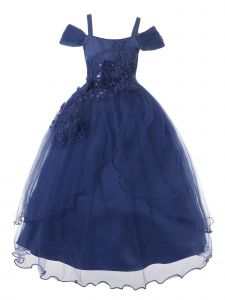 Rain Kids Big Girls Navy Off-Shoulder 3D Flower Applique Christmas Dress 8-14