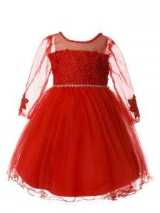 Rain Kids Little Girls Red Tulle Sleeve Flower Lace Christmas Dress 1-6