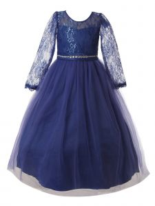 Rain Kids Big Girls Royal Blue Lace Floor Tulle Special Occasion Dress 8-14