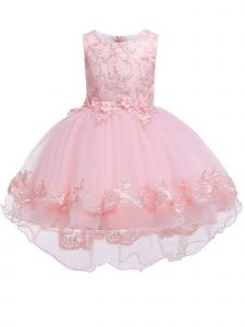 Rainkids Big Girls Blush Lace Hi Low Junior Bridesmaid Easter Dress 8-12