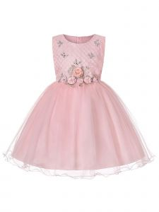Rainkids Girls Blush Roses Rhinestone Junior Bridesmaid Easter Dress 8-14