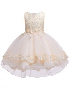 Rainkids Little Girls Champagne Lace Hi Low Flower Girl Easter Dress 3-6