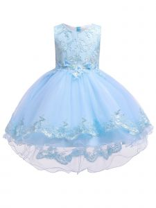 Rainkids Big Girls Sky Blue Lace Hi Low Junior Bridesmaid Easter Dress 8-12