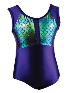 Reflectionz Little Girls Dark Purple Mermaid Leotard 4-6