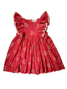 Sophie Catalou Little Girls Royal Red Gold Lace Maeghan Christmas Dress 2-6