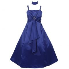 Little Girls Royal Blue Rhinestone Brooch Dull Satin Special Occasion Dress 4-6