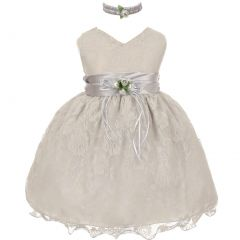 Little Girls Silver Lace Overlay Flower Sash Special Occasion Dress 2-4T